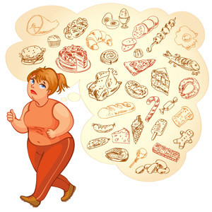 fat_woman and healthy food